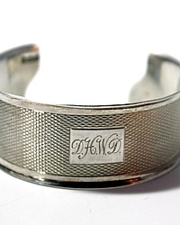Antique Sterling Silver Cuff Bracelet D H W D Monogram