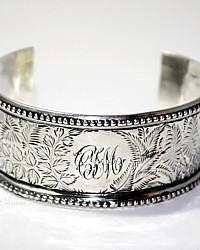 Antique 19th Century Sterling Silver Cuff Bracelet  C I M Monogram