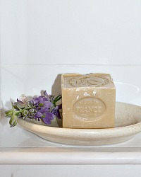 French Marseille Soap and Ironstone Hotel Soap Dish Set