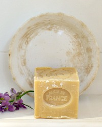 Antique Ironstone Soap Dish with French Cube Soap