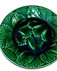 Antique 19th Century Green Majolica Leaf Plate Regal Sanejouand