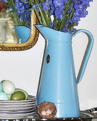 Antique French Enameled Blue Pitcher