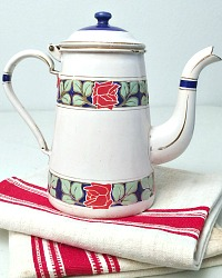 Antique Enamelware Coffee Pot Red Roses
