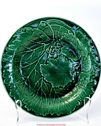 19th Century Majolica Green Vine Leaf Plate Davenport B