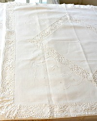 Antique Hand Made Cluny Lace Continental Pillow Shams Scallop Pair