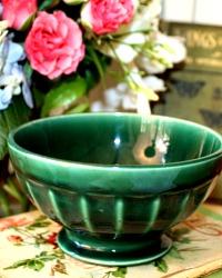 Antique French Dark Green Cafe au Lait Bowl