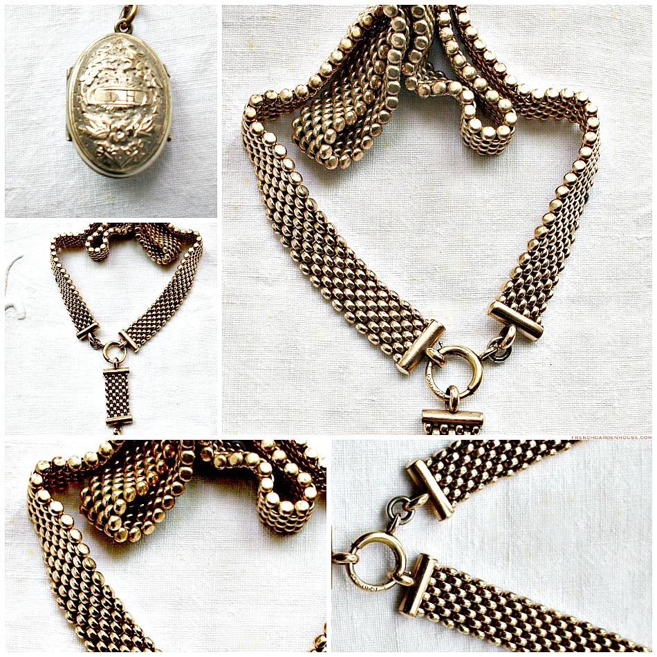 Estate Antique Victorian Watch Chain Bird Locket Necklace