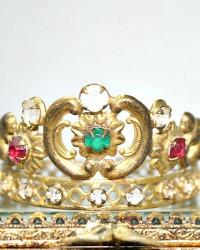 Antique 1840 French Miniature Religious Madonna Crown Tiara Diadem Ormolu Green