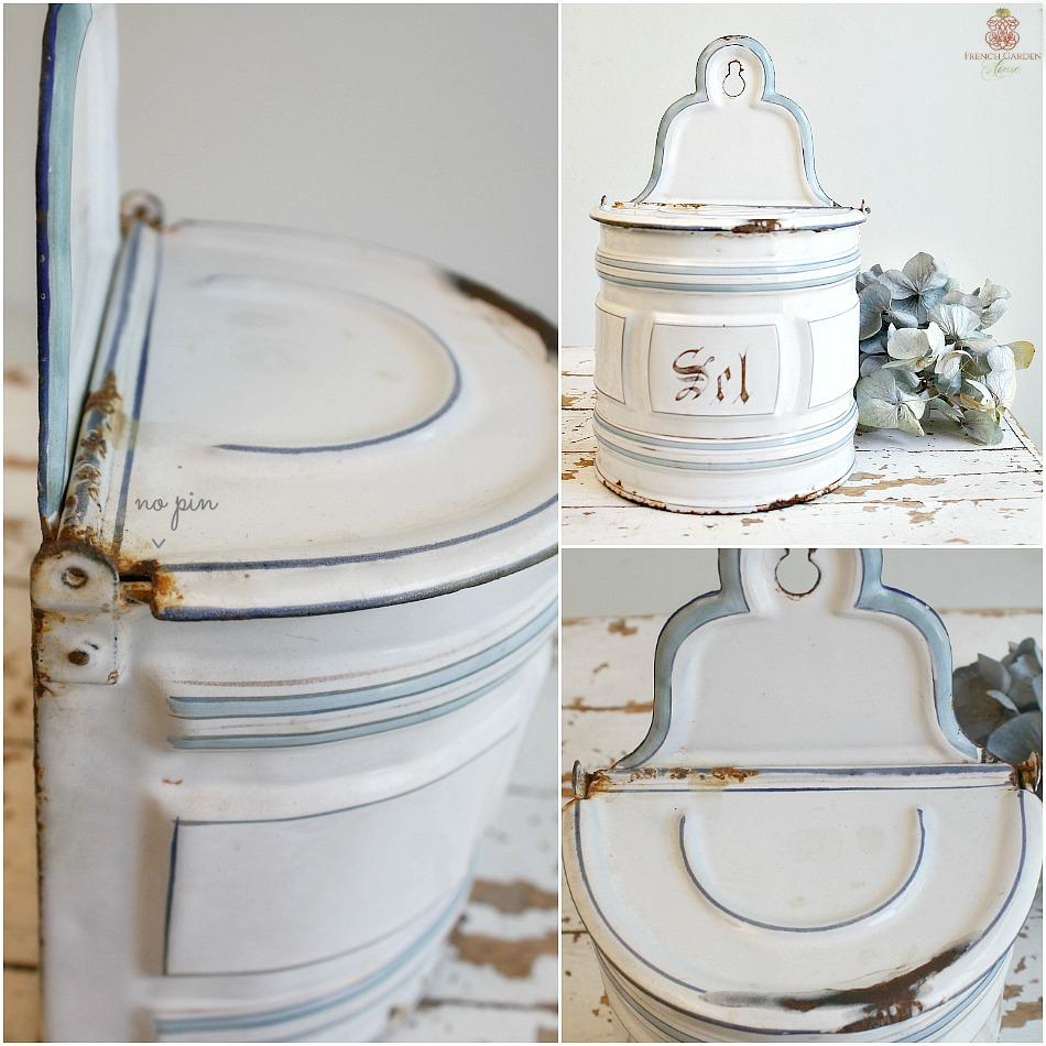 Antique French Enamelware Light Blue & White SEL Salt Box