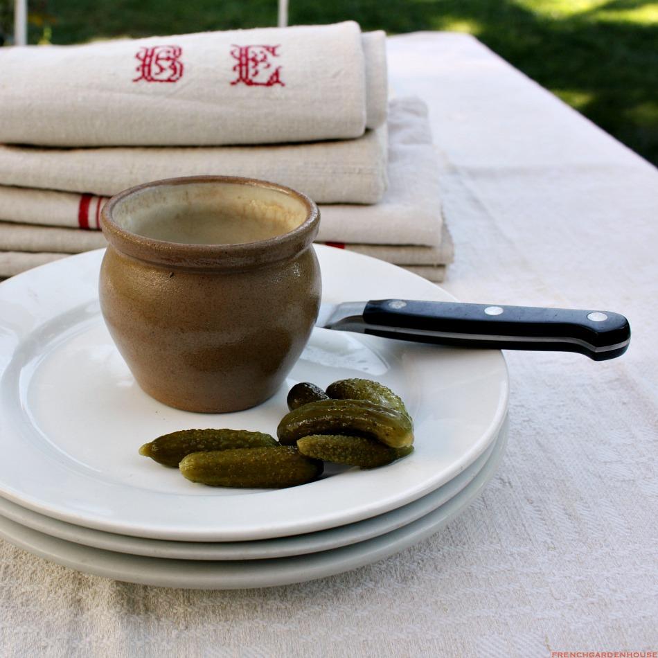 French Bistro Pottery Cornichon Serving Bowl