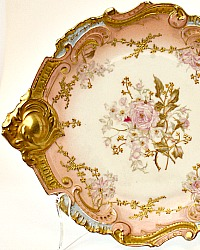 Antique French Hand Painted Limoges Pink Rose Gilt Rococo Cabinet Plate