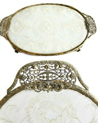 Antique Gold Plated and French Net Lace Vanity Tray