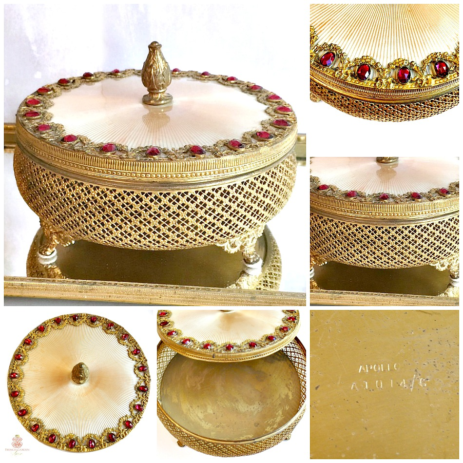 Antique Apollo Studios Large Jeweled Gold Plated Powder Box