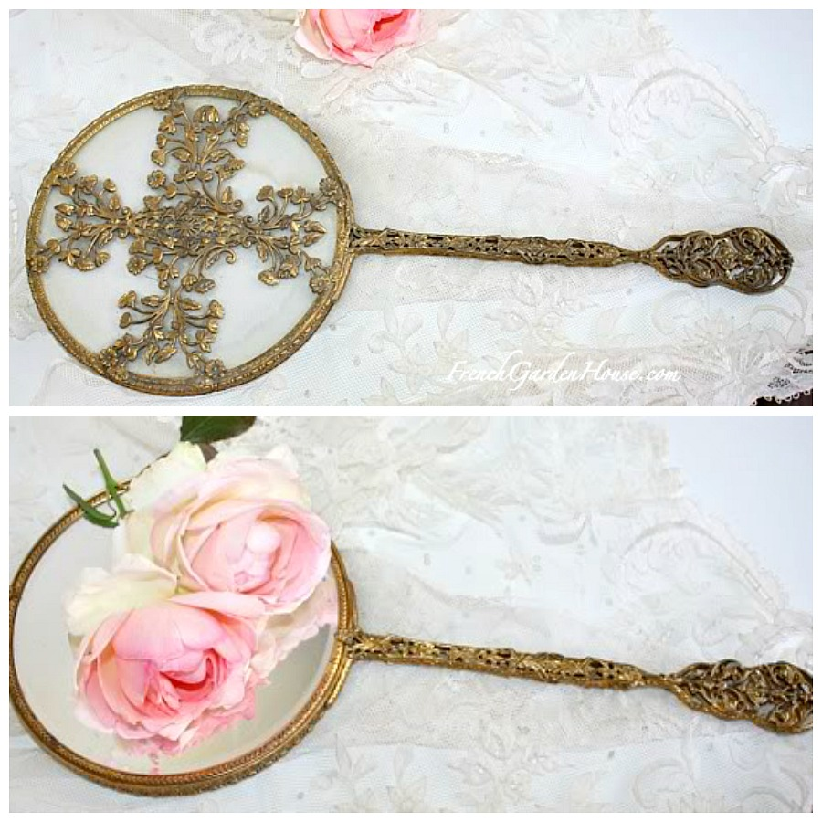 Antique Apollo Studios Gold Plated Hand Mirror