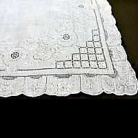 Antique Appenzell Embroidered Swiss Linen Floral Handkerchief