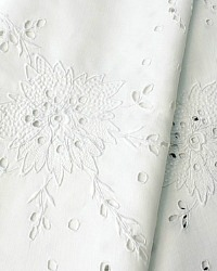 Antique White Linen Hand Embroidered Floral Tablecloth Square