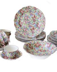 Heirloom English Chintz Dinner Set for 6 Apple Blossom 25 pcs.