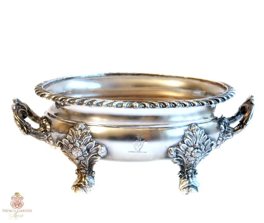 Georgian Silver Plate Sauce Tureen with Armorial Engraving