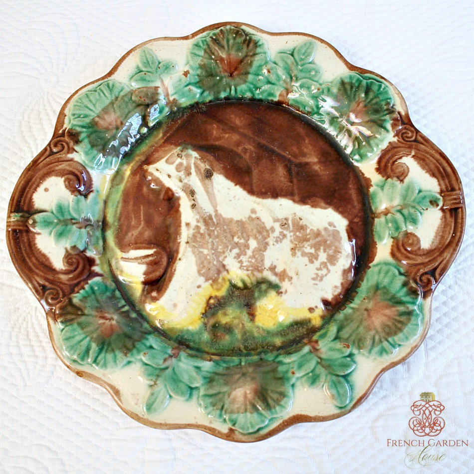 Antique Majolica Dog and House Platter Arsenal 2