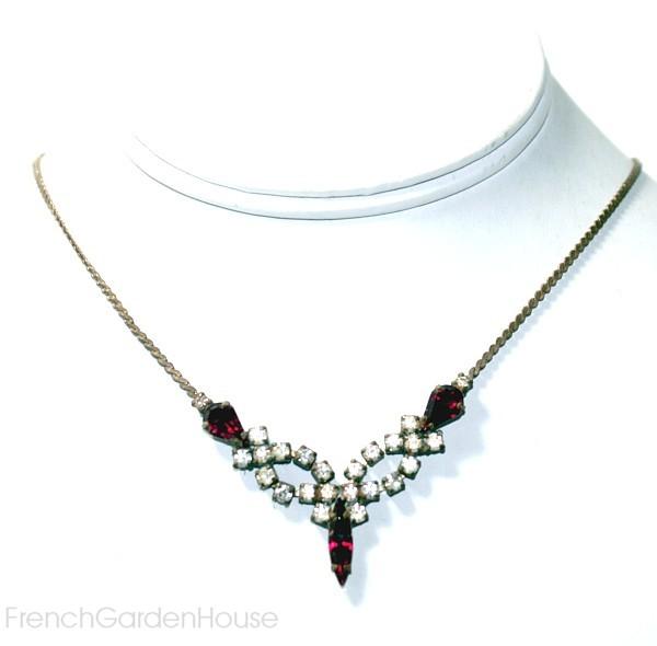 Vintage 1920's Czech Rhinestone Cerise Pink Necklace