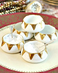 Antique French Limoges Gold and White Porcelain Open Salts Set of 5