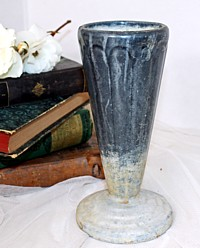 Art Deco French Enamel Blue Cemetery Vase Urn