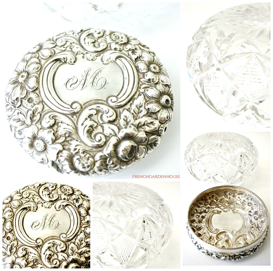 antique sterling and crystal powder jar repousse flowers monogram m