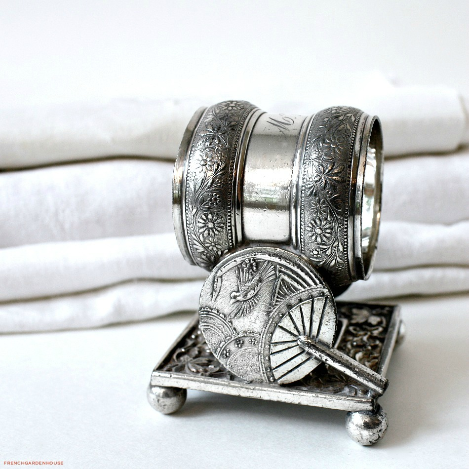 Antique Double Fan Silver Victorian Aesthetic Butterfly Napkin Ring