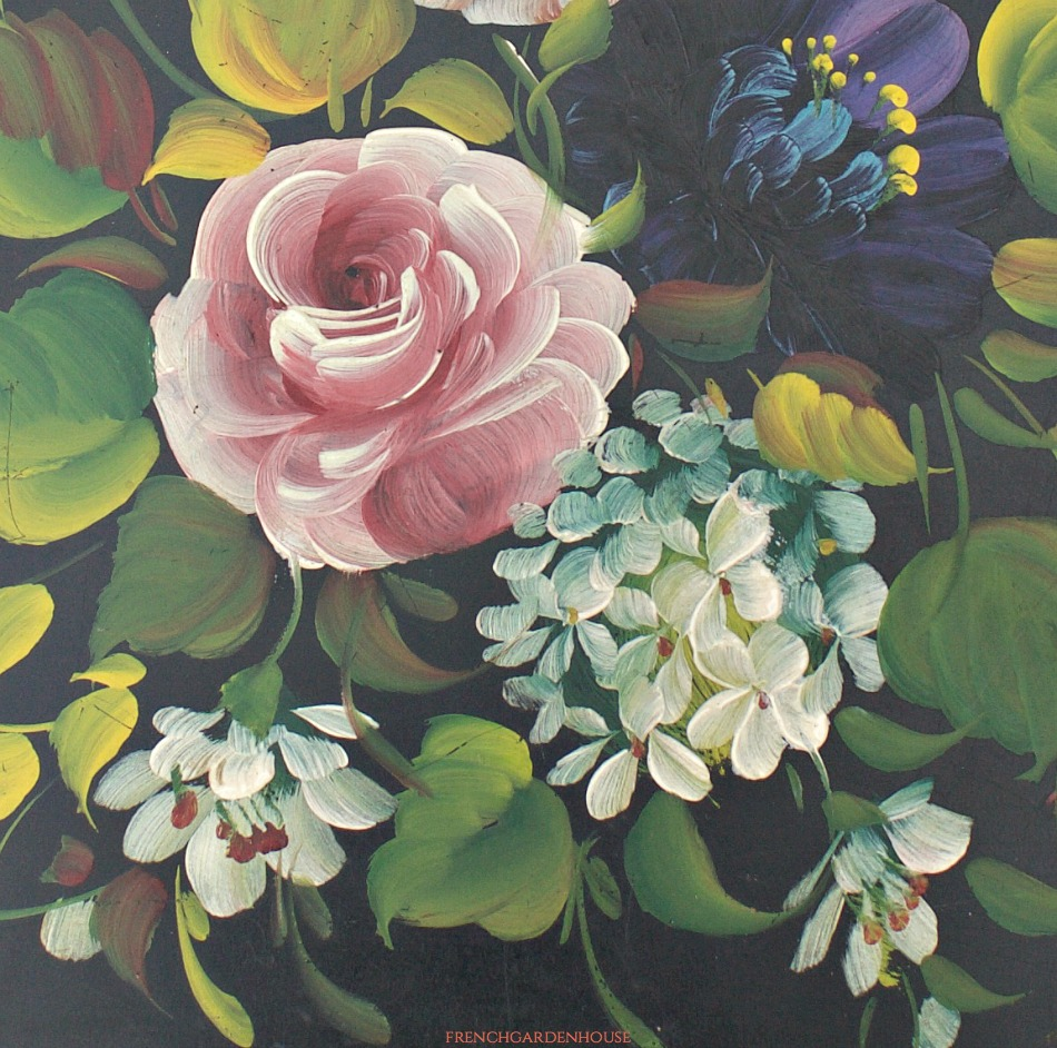 Vintage Toleware Tray Hand Painted Black with Roses Fred Austin
