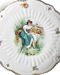 Antique Maiden and Cherub Harvest Cake Plate
