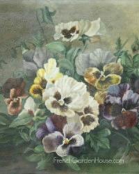 Antique Original Signed Oil Painting Pansies