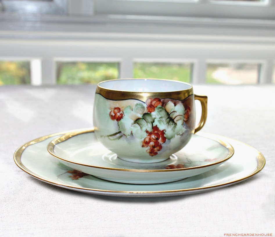 Antique Hand Painted Porcelain Red Currants Tea Cup Trio Signed