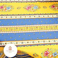 French Provencal Cotton Tablecloth Yellow and Blue Rectangle