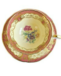Vintage Aynsley Tulip Pink & Yellow Tea Cup and Saucer Set