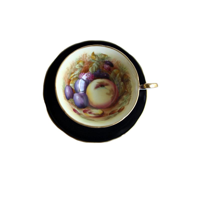 Aynsley Orchard Fruit Tea Cup & Cake Plate Trio Signed D Jones Black