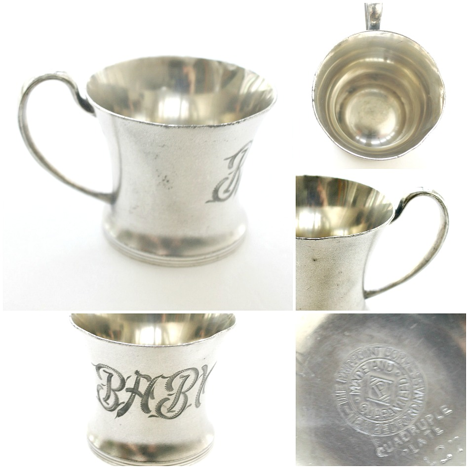 Antique 1800's Silver Triple Plate {Middletown} Pairpoint BABY Monogrammed Baby Cup
