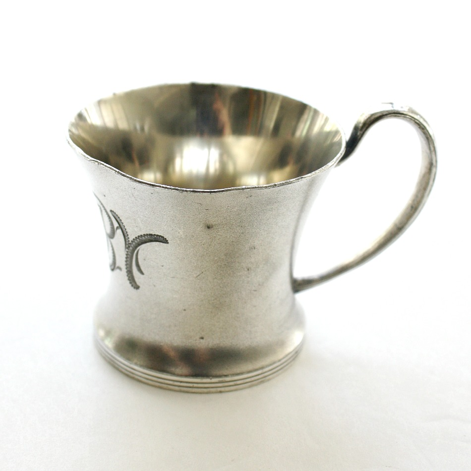 Antique 1800's Silver Triple Plate Middletown Monogrammed Baby Cup