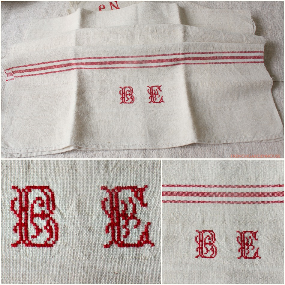 Antique French Hand Woven Linen Towel Red Monogram B E