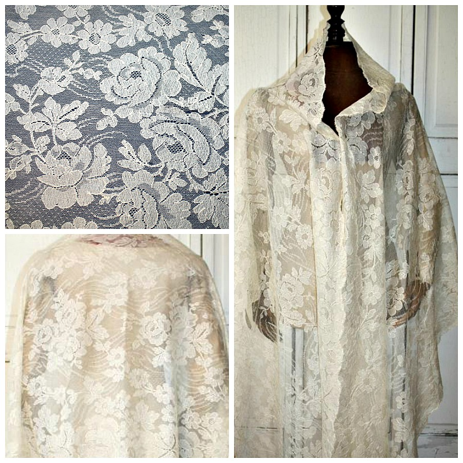 Antique 19th Century Hand Silk Blonde Floral Lace Wedding Shawl Roses
