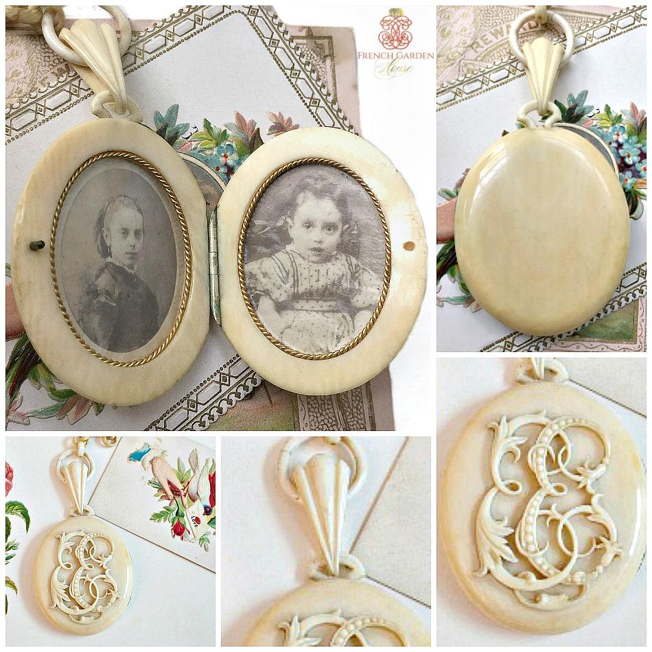 Rare Antique Carved Cream Monogram Locket