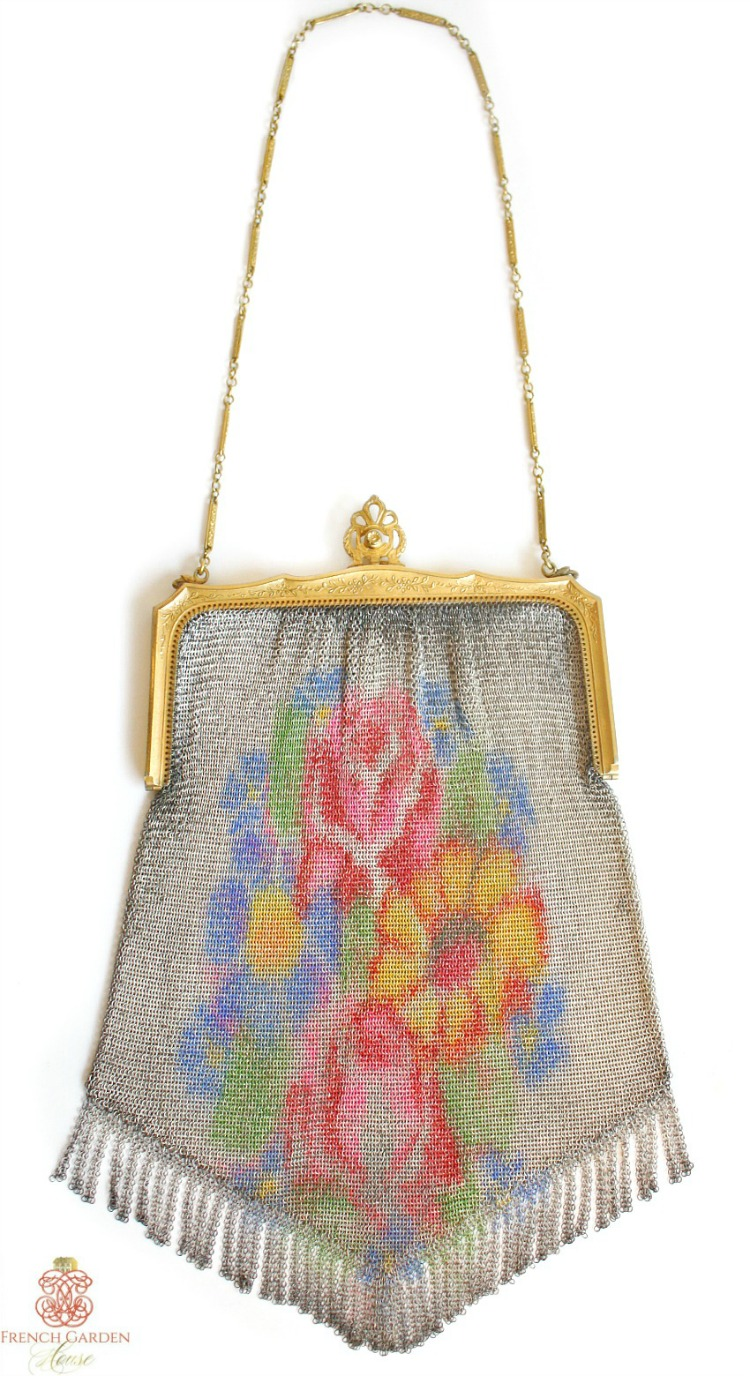 Whiting & Davis Floral Dresden Mesh Purse Roses