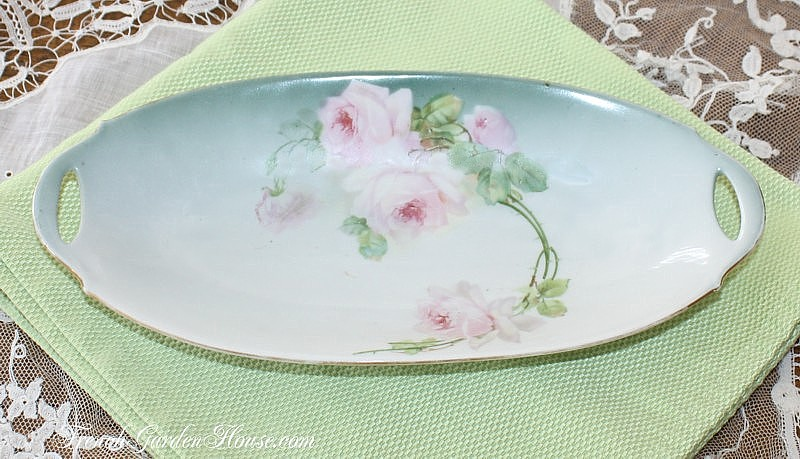 Antique PM Moschendorf Pink Rose Celery Tray Bavaria