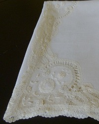 Exceptional Linen and Belgian Princess Lace Tablecloth