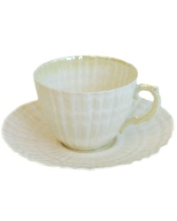 Vintage Belleek Limpet Tea Cup and Saucer