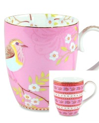 Pink Bird & Ribbon Rose Large Mug Set of 4