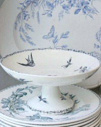 Antique French Compotier Blue Transferware Footed Cake Pedestal Birds