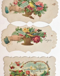 Antique Victorian Paper Hidden Name Calling Card Set of 3