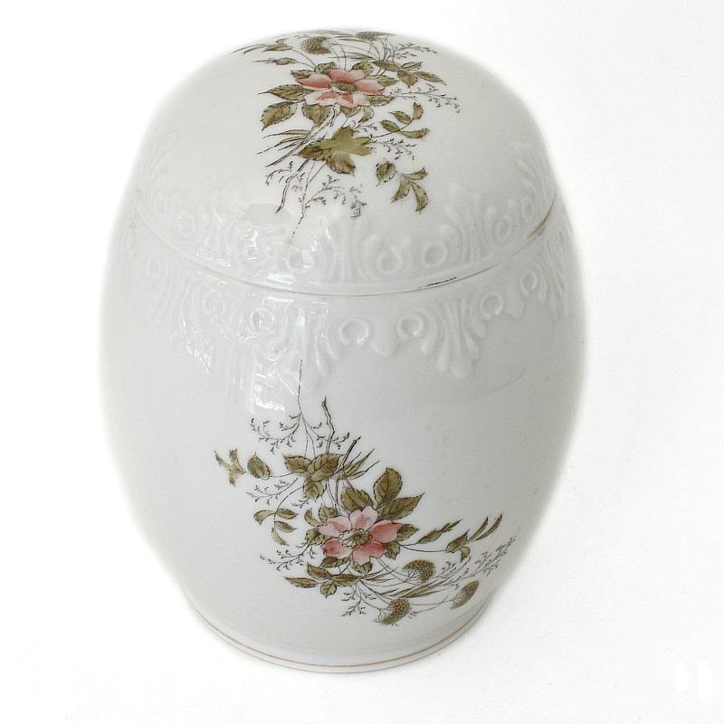 Antique Hand Painted Porcelain Biscuit Barrel