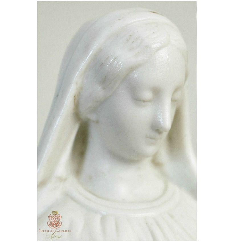 Antique French White Porcelain Madonna