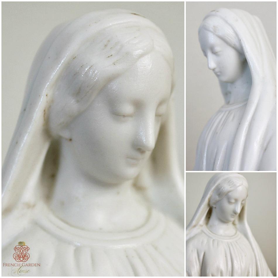 Antique French Parian Bisque Porcelain Madonna